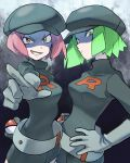 2girls breasts creatures_(company) donnpati game_freak green_eyes green_hair highres multiple_girls nintendo pink_hair poke_ball pokemon pokemon_(game) pokemon_frlg pokemon_hgss shaded_face smirk team_rocket_grunt team_rocket_uniform
