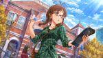 akizuki_ritsuko blush brown_hair dress glasses idolmaster idolmaster_million_live! idolmaster_million_live!_theater_days long_hair smile violet_eyes