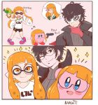 1boy 1girl absurdres amamiya_ren black_hair blue_eyes comic copy_ability domino_mask glasses gloves highres hoshi_no_kirby inkling karbuitt kirby kirby_(series) long_hair mask nintendo persona persona_5 photo sakura_futaba short_hair simple_background smile splatoon splatoon_(series) splatoon_1 squid super_smash_bros. super_smash_bros._ultimate tentacle_hair