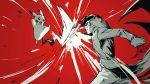 1boy amamiya_ren coat creatures_(company) game_freak gen_1_pokemon gloves knife male_focus mask monochrome nintendo open_mouth persona persona_5 pikachu pokemon pokemon_(creature) pokemon_(game) sageo_yn short_hair simple_background super_smash_bros. super_smash_bros._ultimate tail weapon
