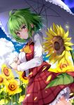 1girl ahoge ascot bangs blue_sky blush breasts clouds commentary_request cowboy_shot day eyebrows_visible_through_hair field flower flower_field green_hair hair_between_eyes head_tilt highres holding holding_umbrella hyurasan kazami_yuuka large_breasts looking_at_viewer outdoors parted_lips petticoat plaid plaid_skirt plaid_vest red_eyes red_skirt red_vest shirt short_hair skirt skirt_set sky solo standing sunflower touhou umbrella vest white_shirt wing_collar yellow_neckwear