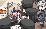 3girls ? akitsu_maru_(kantai_collection) black_eyes black_hair blush bodysuit boots bow bowtie braid clone closed_mouth clothes_writing commentary_request corset food french_braid gloves grey_hair grey_jacket hachimaki hair_between_eyes hair_flaps hamu_koutarou hat headband highres jacket kantai_collection long_hair military military_uniform mini_hat miniskirt multiple_girls one_side_up open_mouth pale_skin pasta peaked_cap plate pleated_skirt pola_(kantai_collection) red_skirt remodel_(kantai_collection) sailor_collar shirt short_hair silver_hair skirt suzutsuki_(kantai_collection) uniform wavy_hair white_bodysuit white_gloves white_neckwear white_shirt white_skirt