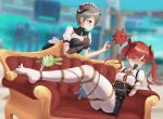 2girls alternate_costume arms_behind_back blurry blurry_background blush bound bound_arms bound_legs brown_hair couch danta_(mtsk2455) feet frills gloves hair_over_one_eye highres honkai_impact horns maid multiple_girls nikola_tesla_(honkai_impact) no_shoes pantyhose puffy_sleeves red_eyes redhead restrained rita_rossweisse shibari single_glove tied_up twintails violet_eyes