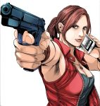 1girl black_tank_top blue_eyes bracelet breasts brown_hair cellphone claire_redfield cleavage commentary_request earrings gun highres holding holding_gun holding_phone holding_weapon jacket jewelry long_hair looking_at_viewer naoki_serizawa necklace phone phone_screen ponytail red_jacket red_vest resident_evil shirt sleeveless sleeveless_shirt smartphone solo vest weapon