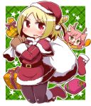 2girls 7th_dragon 7th_dragon_(series) :d animal_costume animal_ear_fluff animal_ears antlers bangs bell belt belt_buckle black_belt blonde_hair blush box brown_gloves brown_legwear buckle capelet cat_ears chibi christmas christmas_stocking commentary_request dress drumsticks emel_(7th_dragon) eyebrows_visible_through_hair fang food fur-trimmed_boots fur-trimmed_capelet fur-trimmed_dress fur-trimmed_sleeves fur_trim gift gift_box gloves green_background green_eyes hair_between_eyes hands_up harukara_(7th_dragon) holding holding_food holding_sack jingle_bell kneebar long_sleeves multiple_girls naga_u one_side_up open_mouth pantyhose parted_bangs parted_lips plaid plaid_background polka_dot pom_pom_(clothes) red_capelet red_dress red_eyes red_footwear red_nose reindeer_antlers reindeer_costume sack smile solo_focus star two-tone_background v-shaped_eyebrows wavy_mouth white_background