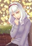 1girl breasts brick_wall carmilla_(fate/grand_order) casual commentary_request fate/grand_order fate_(series) head_tilt highres large_breasts looking_at_viewer medium_hair purple_sweater ribbed_sweater sangatsu_(mitsuki358) silver_hair snow solo sweater winter yellow_eyes