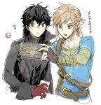 2boys amamiya_ren black_hair blonde_hair blue_eyes cellphone earrings gamelife506 gloves holding jewelry link long_hair looking_at_viewer male_focus multiple_boys nintendo persona persona_5 phone pointy_ears ponytail sheikah_slate short_hair simple_background super_smash_bros. super_smash_bros._ultimate the_legend_of_zelda the_legend_of_zelda:_breath_of_the_wild translation_request