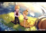 1boy 1girl allen_avadonia bare_arms bare_shoulders black_neckwear blonde_hair blue_eyes blurry blush bottle brother_and_sister brown_footwear collarbone cork corked_bottle daisy depth_of_field dress evillious_nendaiki flat_chest flower frilled_dress frills grass hair_bun hair_ornament hairclip highres hmniao holding holding_bottle in_bottle in_container kagamine_len kagamine_rin kneeling light_particles message_in_a_bottle necktie ocean paper regret_message_(vocaloid) riliane_lucifen_d'autriche shirt shoes short_hair siblings sleeveless sleeveless_blazer sleeveless_dress smile song_name sparkle sparkle_background sunset twilight twins vocaloid water_surface white_flower white_shirt yellow_dress younger
