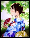 1girl absurdres black_border black_eyes blue_kimono blush border branch brown_hair dappled_sunlight dated day fan from_behind highres holding holding_fan japanese_clothes kimono leaf long_sleeves looking_to_the_side mole mole_on_cheek nape obi original ouchi_kaeru outdoors paper_fan parted_lips ponytail profile sash signature solo sunlight traditional_media uchiwa uchiwa_design upper_body yukata