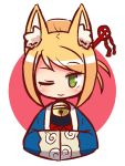 1girl 7th_dragon 7th_dragon_(series) ;) animal_ear_fluff animal_ears bangs bell blonde_hair blush closed_mouth folded_ponytail fox_ears green_eyes hair_ornament hands_in_opposite_sleeves haori japanese_clothes jingle_bell long_sleeves looking_at_viewer naga_u namuna_(7th_dragon) one_eye_closed pink_background sidelocks smile solo swept_bangs two-tone_background white_background