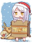 1girl :d animal bangs bare_shoulders barefoot blush box cardboard_box collarbone eve_santaclaus fur-trimmed_hat fur_trim hat holding holding_box idolmaster idolmaster_cinderella_girls long_hair looking_at_viewer mikan_box naga_u nose_bubble nude open_mouth orange_eyes red_hat reindeer santa_hat silver_hair smile snowing solo standing swept_bangs tongue tongue_out