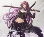 1girl bangs belt breasts cleavage cleavage_cutout commentary crop_top dual_wielding earrings goomrrat green_eyes holding holding_sword holding_weapon jacket jewelry long_hair looking_at_viewer medium_breasts midriff navel original over_shoulder pants purple_hair purple_jacket purple_pants reverse_grip stomach swept_bangs sword sword_behind_back sword_over_shoulder very_long_hair weapon weapon_over_shoulder