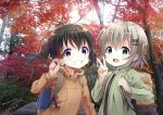 2girls :d autumn_leaves backpack bag bangs black_shirt blush brown_hair brown_jacket commentary_request day eyebrows_visible_through_hair fingernails green_eyes green_jacket grin hair_between_eyes hair_ornament hairclip hand_up holding holding_leaf jacket kuraue_hinata leaf multiple_girls neki_(wakiko) open_clothes open_jacket open_mouth outdoors photo_background shirt smile twintails upper_body v violet_eyes yama_no_susume yukimura_aoi