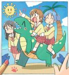 3girls ^_^ aioi_yuuko beach black_eyes black_hair blue_eyes blue_hair blue_sky blush brown_hair closed_eyes closed_eyes closed_mouth clouds dinosaur eyebrows_visible_through_hair facing_another grin looking_at_another minakami_mai multiple_girls naganohara_mio nichijou open_mouth palm_tree parted_lips school_uniform serafuku shark short_hair short_twintails sky smile teeth tree tsubobot twintails v