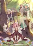 1boy 2girls :d astolfo_(fate) bandage bandaged_arm bandages black_gloves black_legwear cape commentary_request fate/apocrypha fate/grand_order fate_(series) flower forest fou_(fate/grand_order) gloves grass green_eyes green_hair horns indian_style jack_the_ripper_(fate/apocrypha) japanese_clothes kiyohime_(fate/grand_order) long_hair looking_at_viewer multiple_girls nature open_mouth oukawa_yuu outdoors pink_hair short_hair single_glove sitting smile sunlight sword thigh-highs tree weapon white_cape white_hair white_legwear