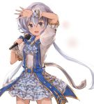 1girl alisia0812 alternate_costume arm_up belt bow granblue_fantasy grey_eyes highres idol kimi_to_boku_no_mirai konno_junko long_hair looking_at_viewer low_twintails microphone open_mouth open_palm puffy_sleeves short_sleeves silver_hair skirt solo twintails very_long_hair white_background wrist_cuffs zombie_land_saga