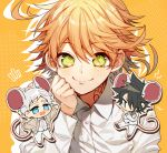 1girl 2boys animal_ears black_hair blush chibi closed_mouth collared_shirt crossed_arms emma_(yakusoku_no_neverland) eyebrows_visible_through_hair green_eyes long_sleeves looking_at_viewer mouse_ears multiple_boys neck_tattoo norman_(yakusoku_no_neverland) number_tattoo orange_hair ray_(yakusoku_no_neverland) sapphire_4825 shirt smile tattoo white_shirt yakusoku_no_neverland