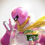 1boy artist_name backlighting bodysuit captain_falcon cellphone chopsticks commentary_request f-zero food food_request gloves helmet highres holding holding_food looking_at_phone male_focus nintendo phone pink_gloves pink_helmet ramen scarf solo takami_masahiro twitter_username watermark web_address white_background yellow_neckwear