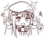 1girl :> :d beret blush eyebrows_visible_through_hair facial_mark girls_frontline hair_ornament hat hk416_(girls_frontline) long_hair long_sleeves lowres musical_note o.k.corral open_mouth smile speech_bubble spoken_musical_note teardrop
