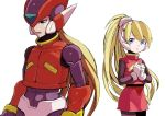1boy 1girl android bangs blonde_hair blue_eyes blush ciel_(rockman) eyebrows_visible_through_hair gloves hands_together headgear helmet high_ponytail long_hair open_mouth pink_skirt ponytail rockman rockman_zero simple_background skirt white_background white_gloves zakki zero_(rockman)