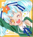 1girl absurdres ayanagi_honpo blue_hair bow commentary_request green_hair hair_bow hair_ornament hair_ribbon highres hoshikawa_lily long_hair marker_(medium) open_mouth ribbon shikishi solo star star_hair_ornament traditional_media twintails zombie_land_saga
