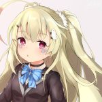 1girl ahoge azur_lane bangs bird_hair_ornament black_choker black_shirt blonde_hair blue_neckwear blush bow bowtie breasts choker eldridge_(azur_lane) eyebrows_visible_through_hair facial_mark gradient_hair hair_ornament hairclip long_hair long_sleeves looking_at_viewer multicolored_hair parted_lips pnt_(ddnu4555) red_eyes redhead school_uniform shirt sidelocks signature simple_background small_breasts solo streaked_hair striped striped_neckwear two_side_up upper_body white_background wing_collar