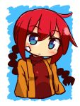 1girl bangs blue_background blue_eyes blush braid breasts brown_jacket closed_mouth cropped_torso eyebrows_visible_through_hair hair_between_eyes head_tilt jacket long_hair monk_(sekaiju) naga_u open_clothes open_jacket red_shirt redhead sekaiju_no_meikyuu sekaiju_no_meikyuu_3 shirt sidelocks single_braid small_breasts solo two-tone_background very_long_hair white_background