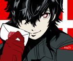 1boy absurdres amamiya_ren atlus black_hair card gloves hal_laboratory_inc. highres karbuitt looking_at_viewer male_focus mask megami_tensei nintendo persona persona_5 red_eyes red_gloves shin_megami_tensei short_hair simple_background smile sony sora_(company) super_smash_bros. super_smash_bros._ultimate