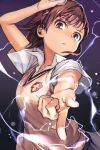 1girl biribiri brown_eyes brown_hair cola electricity eyebrows_visible_through_hair grey_skirt hair_ornament hairclip hand_up hankuri looking_at_viewer mikasa_ackerman parted_lips pointing pointing_at_viewer popped_collar purple_background short_sleeves skirt solo sparks to_aru_majutsu_no_index vest wing_collar