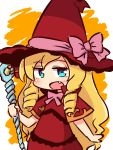 1girl :d bangs blonde_hair blue_eyes blush bow capelet chibi doctor_magus dress drill_hair eyebrows_visible_through_hair fang hat hat_bow holding holding_staff long_hair looking_at_viewer naga_u open_mouth orange_background pink_bow red_capelet red_dress red_hat sekaiju_no_meikyuu sidelocks smile solo staff two-tone_background upper_body very_long_hair white_background witch_hat