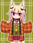 1girl animal_ear_fluff animal_ears bangs bell bell_collar blonde_hair blush brown_collar collar commentary_request cowboy_shot eyebrows_visible_through_hair fox_ears fox_girl fox_tail green_shirt hair_between_eyes hair_ornament haori head_tilt japanese_clothes jingle_bell kemomimi-chan_(naga_u) long_hair long_sleeves naga_u orange_neckwear original plaid pleated_skirt purple_skirt red_eyes sailor_collar shirt skirt sleeves_past_fingers sleeves_past_wrists solo tail white_sailor_collar wide_sleeves