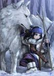 1girl 1other ainu ainu_clothes asirpa bandanna bare_tree black_hair blue_eyes boots bow_(weapon) branch cape dagger earrings fingerless_gloves full_body fur_boots fur_cape gloves golden_kamuy hoop_earrings jewelry kneeling long_hair long_sleeves mitsuya one_knee retar scabbard sheath sheathed signature snow tree weapon wolf