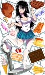 1girl :q bangs black_hair blouse blue_eyes blue_skirt boned_meat breasts cake candy censored chicken_leg chocolate chocolate_bar cleavage dango dotted_line food french_fries full_body highres ice_cream ice_cream_cone kafun lollipop long_hair looking_at_viewer meat medium_breasts miniskirt mitarashi_dango mosaic_censoring nail_polish no_shoes ok_sign original pink_nails pleated_skirt pudding sanpaku short_sleeves skirt slice_of_cake smile soft_serve solo standing standing_on_one_leg steak strawberry_shortcake swirl_lollipop thigh-highs tiptoes tongue tongue_out tsurime w_arms wagashi weighing_scale white_blouse white_legwear wrapped_candy zettai_ryouiki