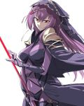 1girl bare_shoulders bodysuit breasts fate/grand_order fate_(series) holding holding_weapon ikuhana_niiro long_hair looking_at_viewer medium_breasts pauldrons polearm purple_hair red_eyes scathach_(fate)_(all) scathach_(fate/grand_order) simple_background solo spear standing veil very_long_hair weapon white_background