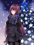 alternate_costume arms_behind_back blush breasts buttons christmas christmas_ornaments christmas_tree coat eyebrows_visible_through_hair fate/grand_order fate_(series) hair_intakes highres hyakuichi large_breasts long_hair looking_at_viewer night outdoors pantyhose pine_tree purple_hair red_eyes scarf scathach_(fate)_(all) scathach_(fate/grand_order) smile snow star tree