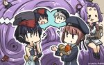 3girls =_= ? absurdly_long_hair asymmetrical_hair bag baguette black_hair black_swimsuit blue_dress blue_eyes bread brown_eyes chibi clothes_writing commentary_request dated dress food framed_breasts gloves groceries hair_between_eyes hamu_koutarou hat hatsuharu_(kantai_collection) headphones highres i-13_(kantai_collection) i-14_(kantai_collection) kantai_collection living_hair long_hair multiple_girls one-piece_swimsuit paper_bag partly_fingerless_gloves peaked_cap plastic_bag ponytail purple_hair remodel_(kantai_collection) sailor_collar sailor_dress sailor_hat school_swimsuit short_hair silver_hair single_glove sitting speech_bubble sweet_potato swimsuit tsurime very_long_hair white_sailor_collar z1_leberecht_maass_(kantai_collection) z3_max_schultz_(kantai_collection)