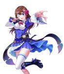 1girl :d ;d absurdres ascot bangs black_bow blue_eyes blue_skirt bow breasts brown_hair collared_shirt eyebrows_visible_through_hair frills hair_ornament hands_up head_tilt highres holding holding_microphone lace_trim leg_garter leg_up long_sleeves looking_at_viewer medium_breasts microphone mikannsisyou miniskirt mismatched_sleeves one_eye_closed open_mouth outstretched_hand pleated_skirt pocket_watch red_neckwear shirt sidelocks simple_background single_thighhigh skirt smile solo striped striped_bow thigh-highs tokino_sora tokino_sora_channel underbust upper_teeth virtual_youtuber watch white_background white_legwear white_shirt wide_sleeves zettai_ryouiki