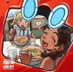 2girls black_hair blonde_hair bowl chair chopsticks closed_eyes copyright_name creatures_(company) dark_skin elizabeth_(tomas21) game_freak gen_4_pokemon glass green_eyes highres holding holding_chopsticks holding_spoon lillie_(pokemon) long_hair looking_back mizuki_(pokemon) multiple_girls nintendo open_mouth pokedex pokemon pokemon_(game) pokemon_usum ponytail rotom rotom_dex shirt short_sleeves sitting spoon table white_shirt