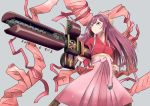 1girl bow commentary_request feet_out_of_frame firearm_request gun hair_bow hakama japanese_clothes kamikaze_(kantai_collection) kantai_collection kimono long_hair machine_gun meiji_schoolgirl_uniform mokerou pink_hakama purple_hair red_kimono solo standing tasuki trigun violet_eyes weapon yellow_bow