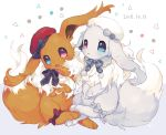:p alternate_color bad_id bad_twitter_id blue_eyes blush clothed_pokemon creatures_(company) eevee fluffy game_freak gen_1_pokemon grey_ribbon hat heterochromia hideko_(l33l3b) highres looking_at_viewer neck_ribbon nintendo pokemon pokemon_(creature) red_hat ribbon shiny_pokemon sparkling_eyes tears tongue tongue_out violet_eyes white_background white_hat
