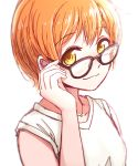 1girl :3 bespectacled enso_(ensoooclcl) eyebrows_visible_through_hair glasses hoshizora_rin jewelry looking_at_viewer looking_over_eyewear love_live! love_live!_school_idol_project necklace orange_hair shirt short_hair simple_background solo upper_body white_background white_shirt yellow_eyes