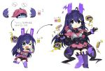 1girl ;d animal_band_legwear animal_ears animal_hood black_gloves black_neckwear blue_eyes blush bow bowtie breasts bridal_gauntlets bunny_band_legwear bunny_hood cropped_legs double_v egg evolution eyebrows_visible_through_hair facial_mark gloves hatching highres hood hood_down hood_up idolmaster idolmaster_million_live! level_up looking_at_viewer mochizuki_anna multiple_views one_eye_closed open_mouth puffy_shorts purple_hair purple_legwear rabbit_ears shorts simple_background small_breasts smile spawnfoxy v whisker_markings white_background