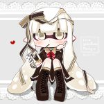 1girl boots domino_mask food food_in_mouth grey_background hair_ribbon heart highres holding holding_food inkling lace_trim long_sleeves mask pocky ribbon sitting skirt solo splatoon splatoon_(series) splatoon_1 tentacle tentacle_hair white_eyes white_hair yaya_(yayaya)