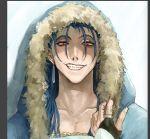 1boy blue_background blue_hair cloak collarbone cu_chulainn_(fate/grand_order) fate_(series) fur_trim grin hood itk jewelry lancer long_hair looking_at_viewer male_focus ring sharp_teeth smile teeth upper_body