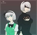 2girls black_blindfold black_dress black_hairband blindfold blue_eyes bob_cut crossover divaanis dress green_vest hairband konpaku_youmu look-alike multiple_girls nier_(series) nier_automata shirt silver_hair touhou vest white_shirt yorha_no._2_type_b