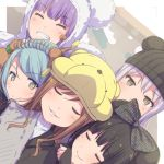 5girls ^_^ aiba_aina animal_hat animal_hood aqua_hair ayasaka bang_dream! bangs bear_hat black_bow black_hair black_hat bow brown_eyes brown_hair character_hat closed_eyes closed_eyes coat commentary_request disneyland dutch_angle green_eyes grey_hair grin group_picture hair_bow hand_on_another's_shoulder hat hikawa_sayo hood hood_up imai_lisa kudou_haruka_(seiyuu) long_hair looking_at_viewer mickey_mouse_ears minato_yukina multiple_girls nakashima_yuki parted_lips paw_pose photo-referenced pooh purple_hair roselia_(bang_dream!) sakuragawa_megu seiyuu_connection shirokane_rinko shizaki_kanon sleeves_past_wrists smile u_u udagawa_ako winnie_the_pooh yellow_hat