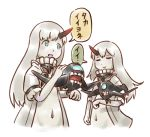 2girls abyssal_patrolling_attack_hawk blue_eyes closed_eyes escort_hime german_escort_hime horn kantai_collection karasu_(naoshow357) long_hair looking_at_another multiple_girls navel oni_horn revealing_clothes shinkaisei-kan simple_background translation_request white_background white_hair white_skin