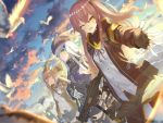 404_(girls_frontline) 4girls :d ;d animal arms_up assault_rifle bangs bird black_gloves blue_sky blurry blurry_foreground blush breasts brown_eyes brown_hair brown_jacket brown_legwear brown_ribbon brown_skirt closed_eyes closed_mouth clouds cloudy_sky commentary_request day depth_of_field dress_shirt dutch_angle eyebrows_visible_through_hair facial_mark fingerless_gloves fingernails flat_cap g11_(girls_frontline) girls_frontline gloves green_eyes green_hat green_jacket gun h&k_ump45 hair_between_eyes hair_ornament hairclip hat heckler_&_koch hk416 hk416_(girls_frontline) holding holding_gun holding_weapon jacket kaina_(tsubasakuronikuru) long_hair long_sleeves multiple_girls neck_ribbon object_namesake one_eye_closed one_side_up open_clothes open_jacket open_mouth outdoors outstretched_arm pantyhose pleated_skirt purple_jacket ribbon rifle scar scar_across_eye seagull shirt silver_hair skirt sky small_breasts smile stretch trigger_discipline twintails ump45_(girls_frontline) ump9_(girls_frontline) very_long_hair weapon white_gloves white_shirt yawning