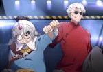2boys black_eyes blood broken_eyewear changpao chinese_clothes clenched_teeth closed_mouth fate/grand_order fate_(series) fist_bump glasses han_xin_(fate/grand_order) helmet li_shuwen_(fate) looking_at_another male_focus multiple_boys older round_eyewear teeth tsuedzu white_hair