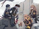 armband assault_rifle bangs beret black_bow black_hat black_jacket black_shorts blunt_bangs bow brown_eyes brown_hair building closed_eyes coat crossed_bangs eyebrows_visible_through_hair facial_mark fingerless_gloves fire food g11_(girls_frontline) girls_frontline gloves green_eyes green_hat green_jacket gun hair_ornament hat highres hiyo_moo hk416_(girls_frontline) holding holding_gun holding_weapon hood hood_down hooded_jacket jacket knee_pads long_hair looking_at_another marshmallow one_side_up open_clothes open_coat open_jacket rifle ruins scar scar_across_eye scarf_on_head shorts silver_hair sitting sleeping smile squatting submachine_gun teardrop twintails ump45_(girls_frontline) ump9_(girls_frontline) weapon